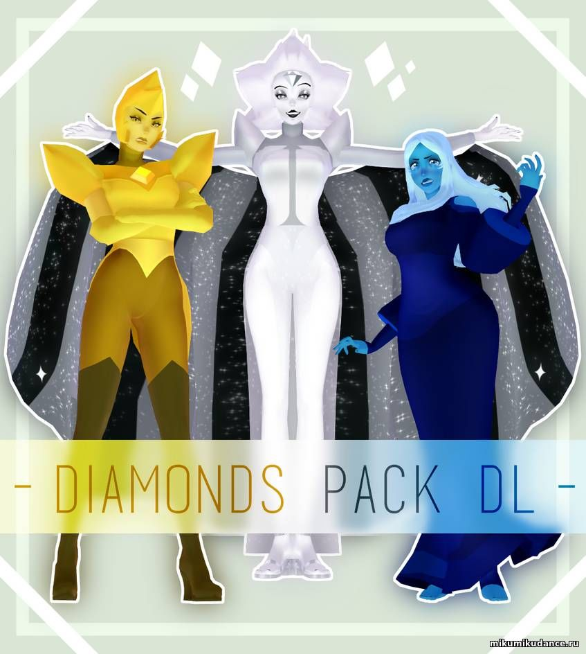 Скачать модель для mmd Yellow, Blue, White Diamond Pack